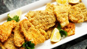 Baked Breaded Fish and Pasta